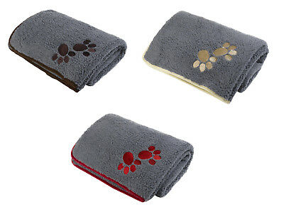 Pet Face Soft Sherpa Fleece Dog Blanket Warm Cosy Paw Print Puppy Cat Comforter