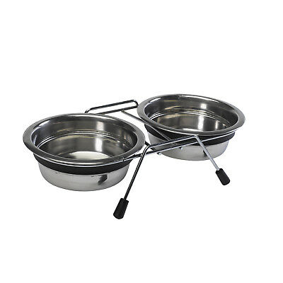 Anti Slip Raised Dog Bowls Petface Stainless Steel Double Diner Feeding Dishes