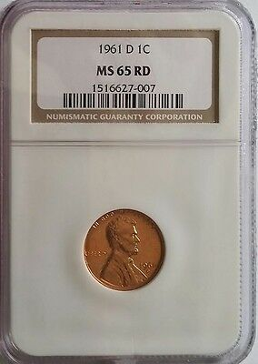 1961-D LINCOLN MEMORIAL CENT PENNY 1c #007 NGC MS65RD