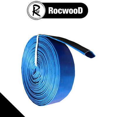 """2"""" Layflat Hose PVC Water Delivery Discharge Pipe Pump Lay Flat Irrigation Blue"""