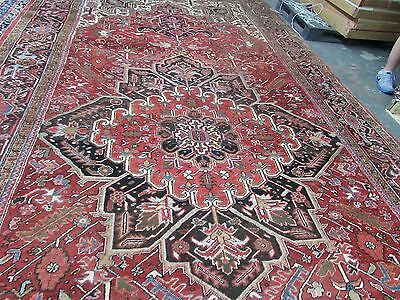 Vintage Antique Heriz Serapi  Persian Hand Knotted Wool Long Rug 9'6 x 18'9