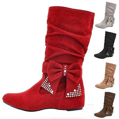 PLUS SIZE BOOTS Ladies Casual Shoes Rhinestone Ribbon Womens