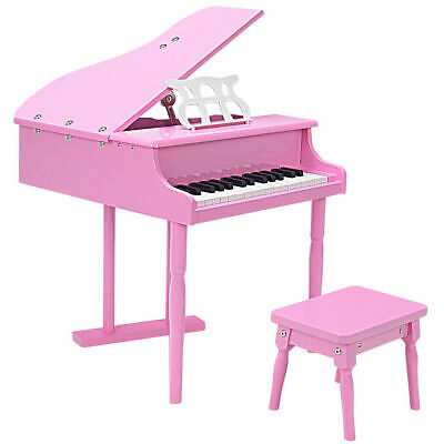 Goplus Childs 30 key Toy Grand Baby Piano w/Kids Bench Wood Pink Christmas Gift