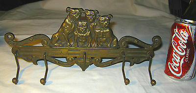 Antique American Judd Bull Dog Cast Iron Wall Art Tie Key Ring Leash Rack Holder