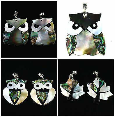 Shell & Abalone Shell Leaf Owl Pendant,DIY Accessory For Necklace