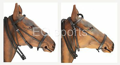 Leather Hunting Style /Hunting Bridle Brown & Black SIZES Shet-Pony-Cob-Full