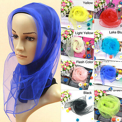 Vintage Women Lady 50s Traditional Square Chiffon Soft Neck Head Scarf Scarves