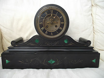 Victorian French Slate Striking Mantle Clock Gilded Enamel Face Jade Green Inlay