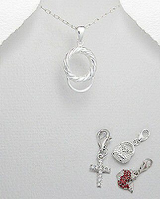 """1.4g Solid Sterling Silver 0.94"""" Rope Circle Pendant Charm Holder 24mmx12mm"""