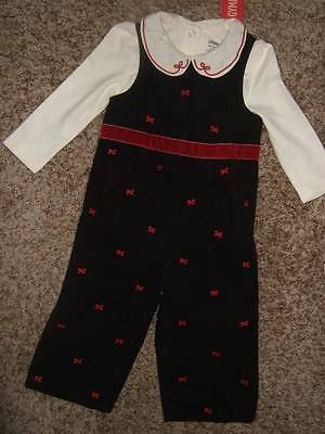 NWT Gymboree HOLIDAY FRIENDS ivory bodysuit top black cords overall pants 18 24