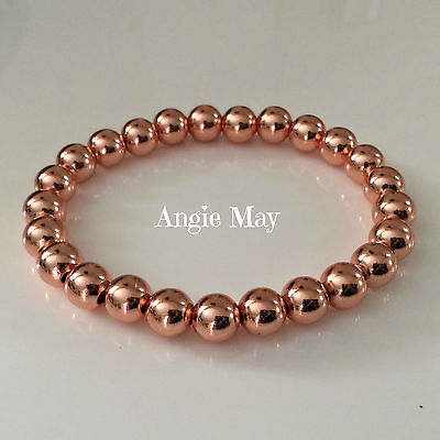 """Solid Copper 8mm Beaded Healing Stretch Bracelet 6"""" - 10"""" Hand made in the USA"""