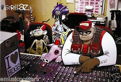 "Gorillaz ""i Love Hogs - Band, Monkey & Pig Behind Mixing Board"" Poster From Asia"