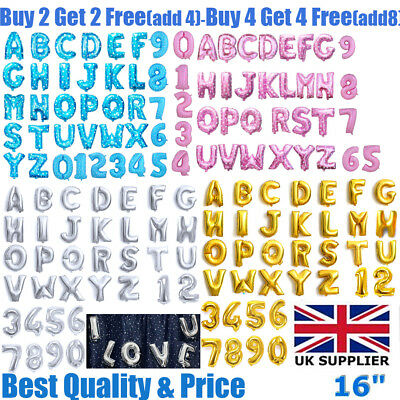 "Gold Silver Blue & Pink 16"" Alphabet A-Z Letter Number Foil Balloons Party Name"
