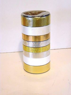 75 Foot Silver White Gold 1//2 In 3//4 In Ribbon Roll Christmas Valentines Wedding