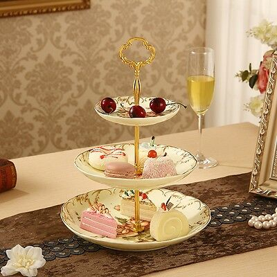 3 Tiers Radian Cake Plate Stand Cupcake Fittings Golden Party decor