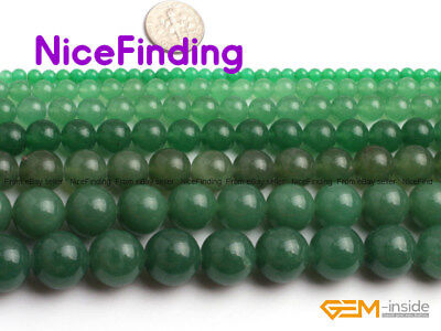 Natural Round Green Aventurine Jade Loose Stone Beads For Jewelry Making 4-18mm