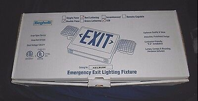 *new* Beghelli Emergency Exit Lighting Fixture #xclruw Optional 2 Sided Red Led
