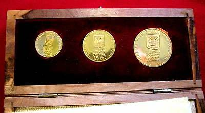 Gold Set 50+100+200 Lirot 1973-25Th Anniversary Of Israel-Km#72+73+74 -Unc-Box