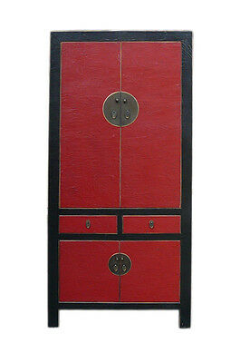 Chinese Red & Black Silk Lacquer Tall Armorie Wardrobe Cabinet cs700