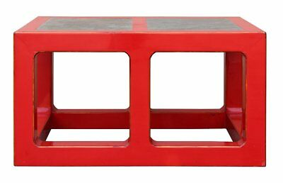 Red Lacquer Stone Top Contemporary Coffee Table , Low Table s049