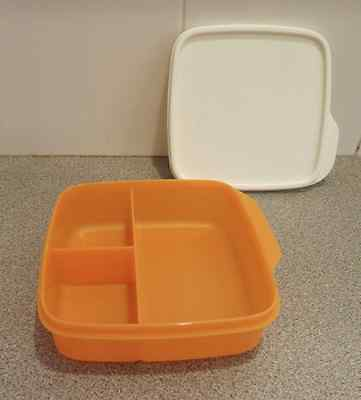 Tupperware Lunch-It Divided Square Lunch Box Snacks Sides Mango Orange New