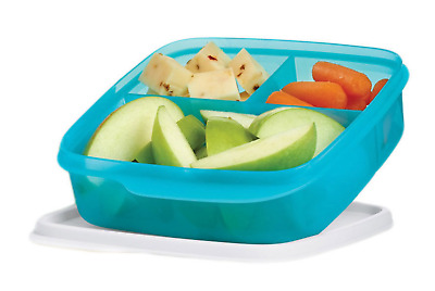Tupperware Lunch-It Divided Square Lunch Box Snacks Sides Cool Aqua Blue New