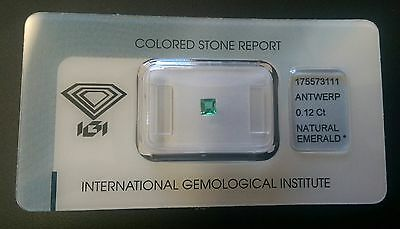 IGI CERTIFIED Zambian Natural Emerald 0.12 carats -Transparent-Stunning Gemstone