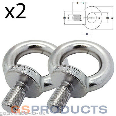 2 x 5mm Stainless Steel Lifting Eye Bolt DIN580 M5 Bolt FREE POSTAGE