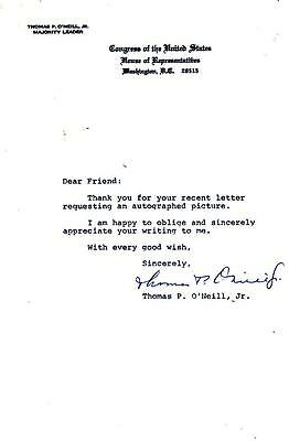 Majority Leaader Tip O'Neill- Signed Letter