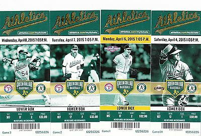 2015 OAKLAND ATHLETICS PICK YOUR GAME SONNY GRAY 2ND half TICKET STUB MANY DATES