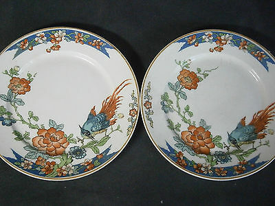 "Pair 6.00"" Wood & Sons Bird Of Paradise Bread Plates"