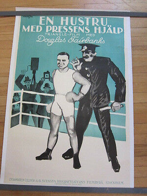 HIS PICTURE IN THE PAPERS 1922 Swedish poster Douglas Fairbanks linen backed