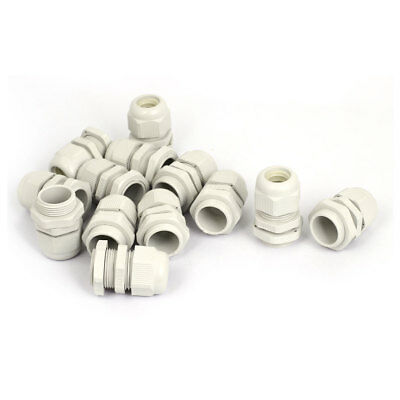 13 Pcs 24mm Thread Dia White Plastic Cable Connect Cord Glands Connector M24x1.5