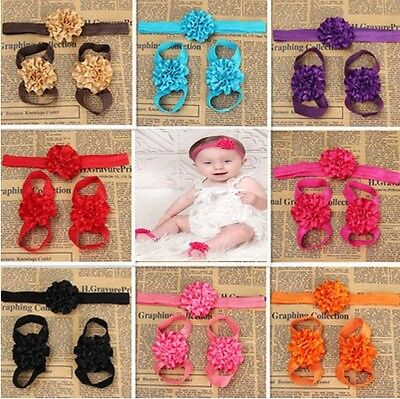 Lovely Foot Flower Barefoot Sandals + Headband Set for Infant Baby Girls Kids