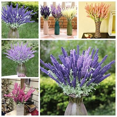 12 Heads Bouquet Artificial Silk Lavender Flower Home Wedding Garden Floral Deco