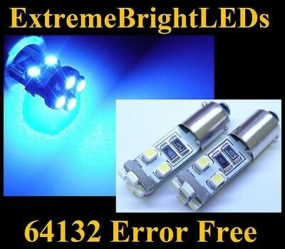 TWO Ultra BLUE 8-SMD Canbus Error Free 64132 LED Parking Lights