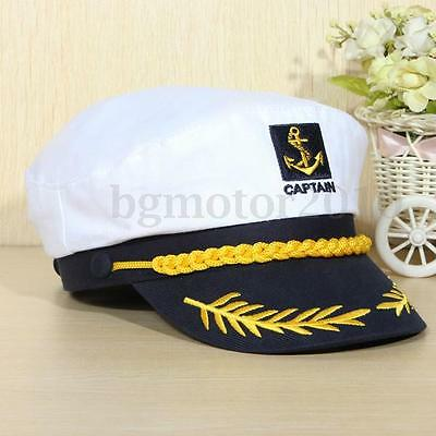 Skipper Military Captain Sailor Navy Yacht Nautical Hat Cap Costume Party White