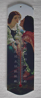 Wooden Classic Art Wall Thermometer picture rectangle long centigrade fahrenheit
