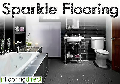 GREY Sparkly Bathroom Flooring / Glitter Effect Vinyl Floor. Sparkle Lino Next