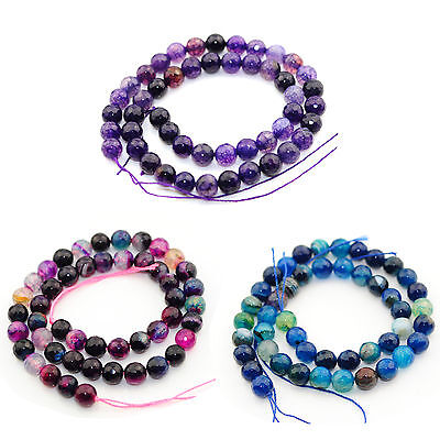 String of 47 natural stone agate faceted beads for jewellery making 8mm