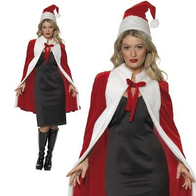 Luxury Cape Ladies Christmas Fancy Dress Costume Santa Claus Cape One Size