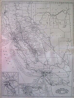 1927 Antique CALIFORNIA Map NEVADA Map Poster Print Size Black and White 2025