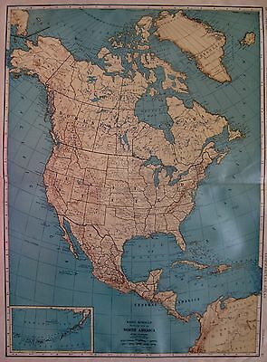 1927 RARE Size NORTH AMERICA Map Beautiful Antique Map Gallery Wall Art 2026