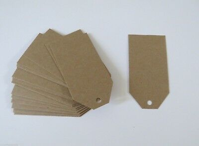 100 Pack x BROWN KRAFT WEDDING BONBONNIERE GIFT TAGS 60x120mm in 225gsm Card