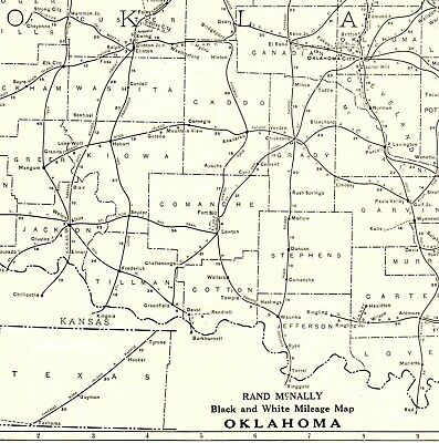 1927 RARE Size OKLAHOMA Map Black And White Mileage Map Gallery Wall Art 2034
