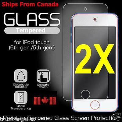 2X- TEMPERED GLASS SCREEN PROTECTOR FOR APPLE iPod Touch 5 5th & Touch 6 6th