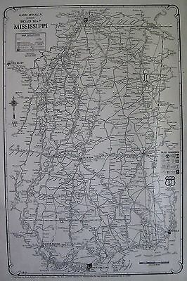 1927 RARE MISSISSIPPI Map Uncommon Black and White Mississippi Road Map 2047