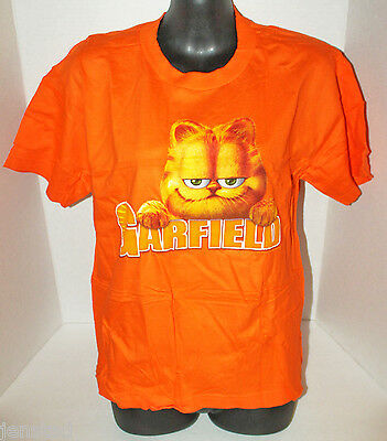 Garfield Youth Boys Or Girls L T-Shirt Large Clothing Orange Graphic Tee Casual