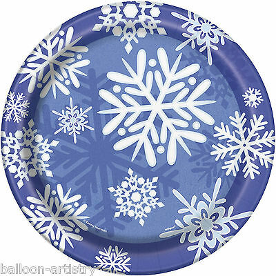 """8 Christmas Party Winter Snowflakes Blue Large 9"""" Disposable Paper Dinner Plates"""