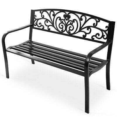 "GOPLUS 50"" Patio Park Garden Bench Porch Chair Steel Frame Cast Iron Backrest"